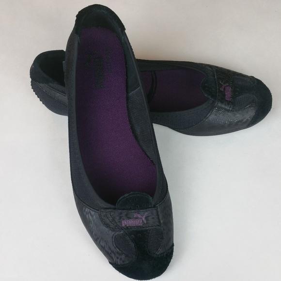 28bd6460fae Puma Shoes - Wms Puma Zandy Black Leather Mesh Ballet Flat Sz 7
